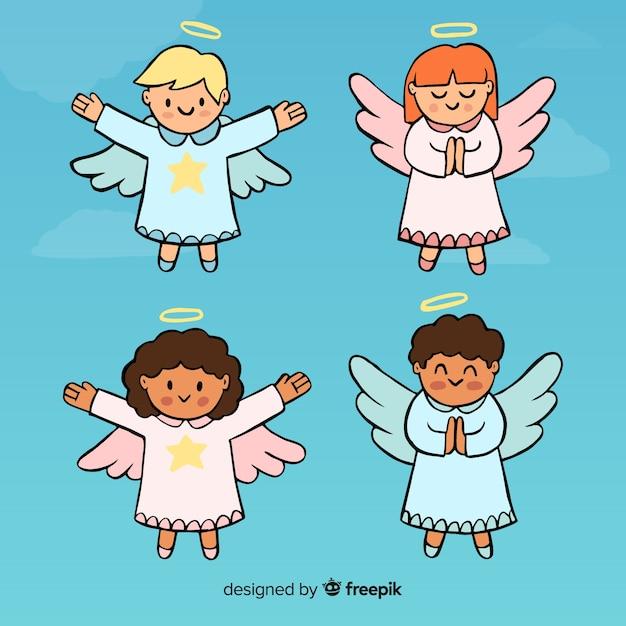 Bella collezione di angeli Vettore gratuito