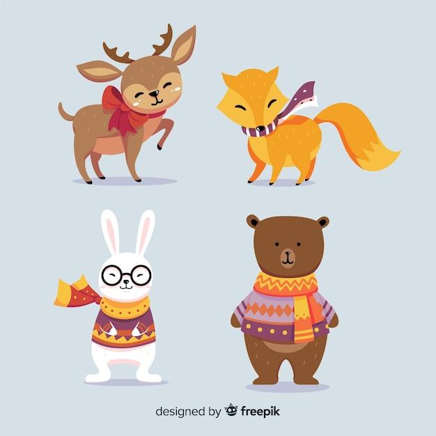 Bella collezione di animali invernali Vettore gratuito