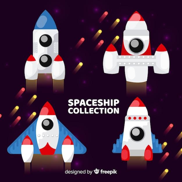 Bella collezione di astronavi con design piatto Vettore gratuito