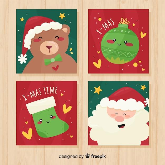 Bella collezione di cartoline natalizie con design piatto Vettore gratuito