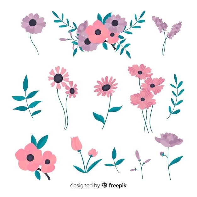 Bella collezione di fiori con design piatto Vettore gratuito