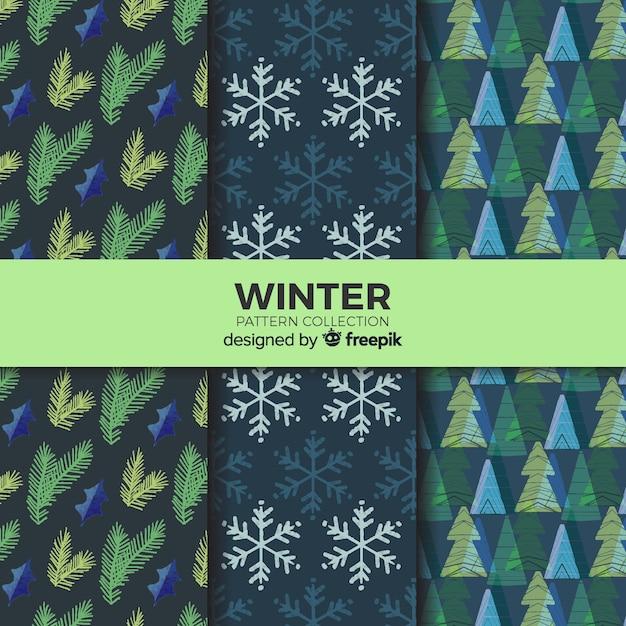 Bella collezione di modelli invernali Vettore gratuito