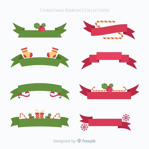 Bella collezione di nastri natalizi con design piatto Vettore gratuito