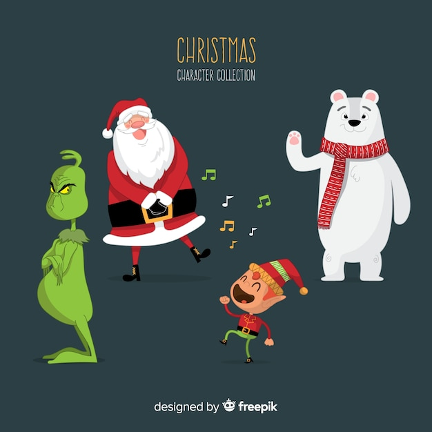 Bella collezione di personaggi natalizi con design piatto Vettore gratuito