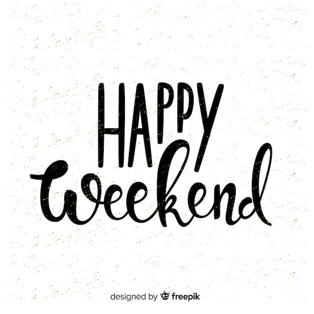 Bella composizione happy weekend Vettore gratuito