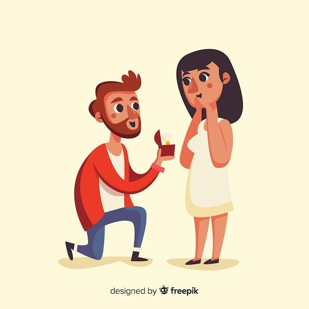 Bella composizione proposta di matrimonio con design piatto Vettore gratuito