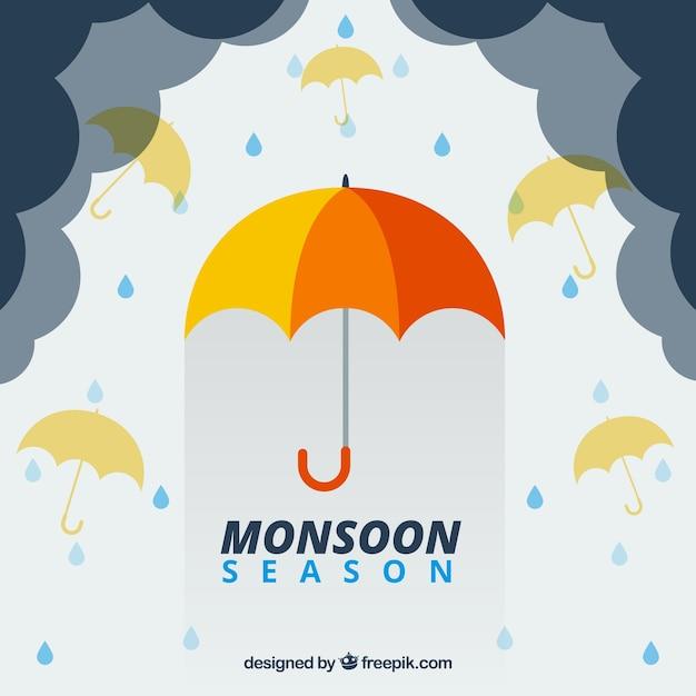 Bella composizione stagione dei monsoni con design piatto Vettore gratuito