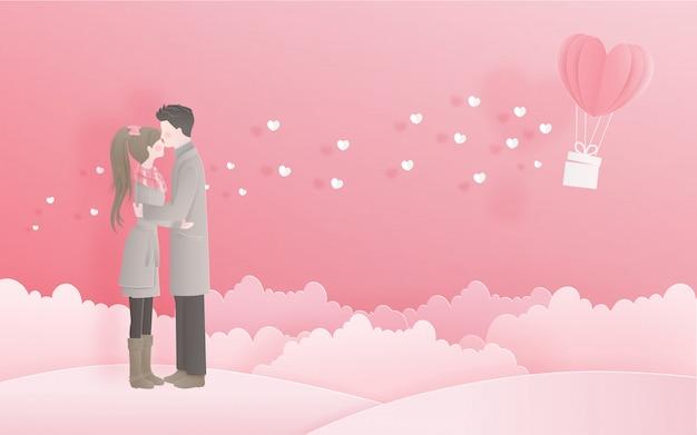 Bella coppia per la carta di san valentino con il concetto di amore in stile taglio carta dolce Vettore Premium