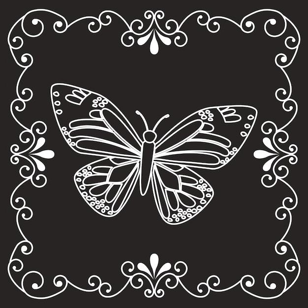 Bella cornice a farfalla Vettore gratuito