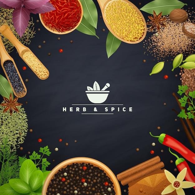 Bella cornice con bordi di erbe da cucina e placer spezie in piatti di legno Vettore gratuito