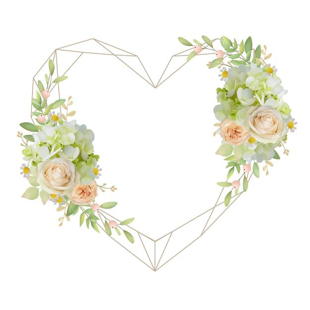 Bella cornice d'amore con rose floreali e ortensie Vettore Premium