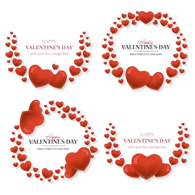 Bella cornice di san valentino con cuori Vettore gratuito