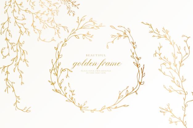 Bella cornice dorata con rami eleganti Vettore gratuito