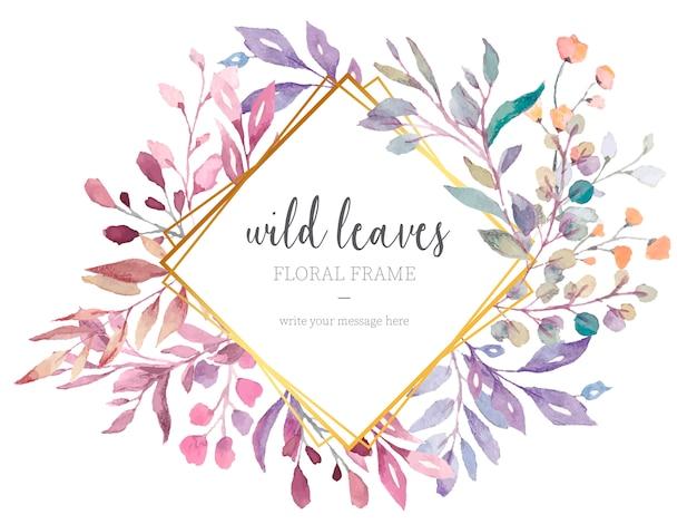 Bella cornice floreale con foglie selvatiche Vettore gratuito