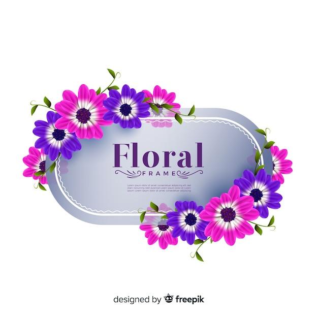 Bella cornice floreale dal design realistico Vettore gratuito
