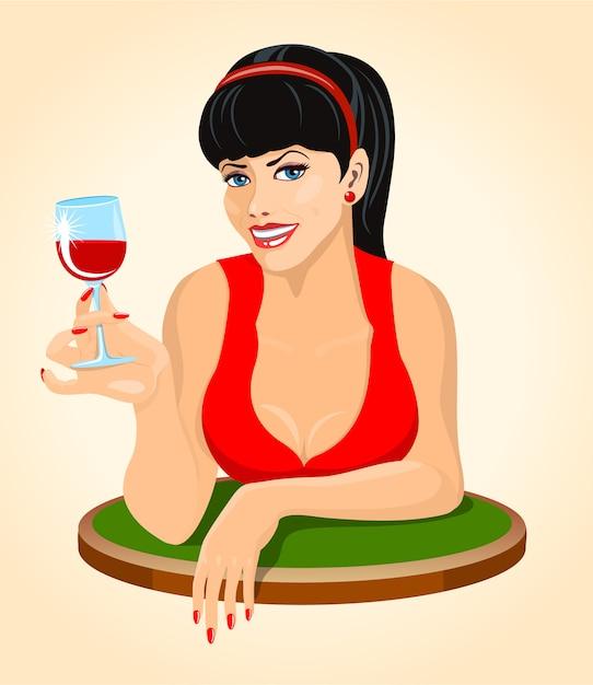 Bella donna bruna in abito rosso con un bicchiere di vino Vettore Premium