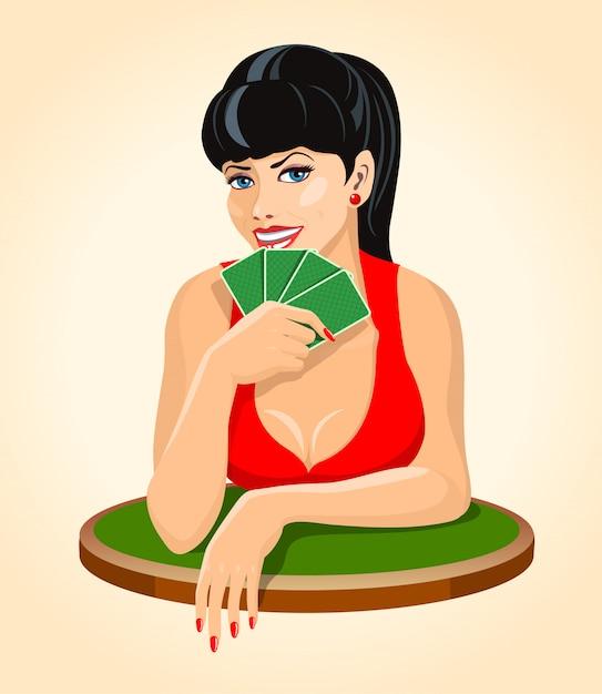 Bella donna bruna sorridente in abito rosso con carte da gioco seduto al tavolo. poker, icona del ponte. Vettore Premium