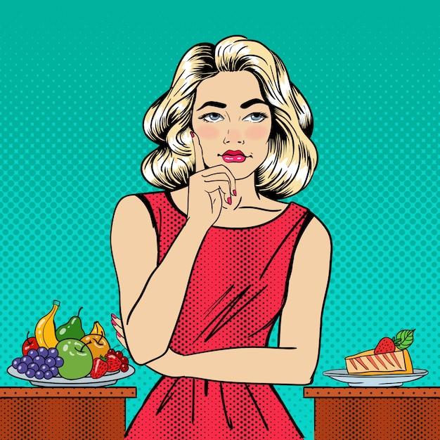 Bella donna che sceglie alimento fra la frutta e la torta di formaggio. pop art. Vettore Premium