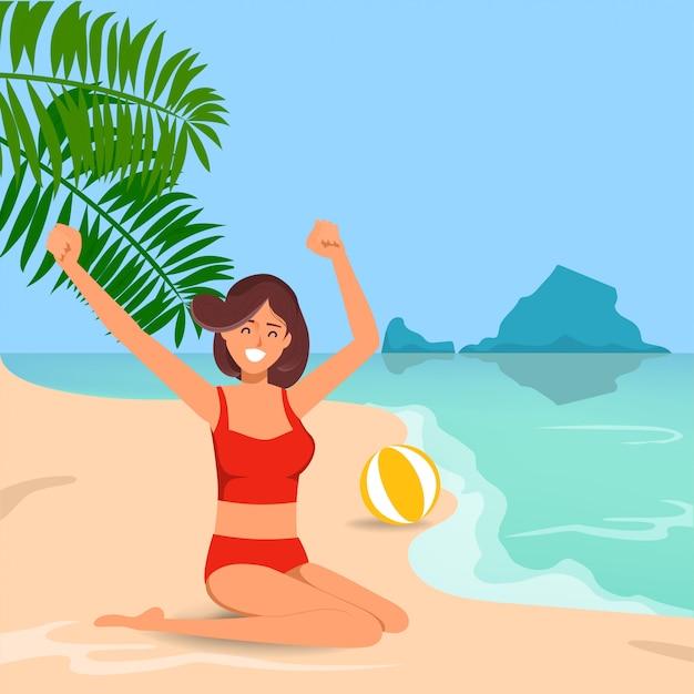 Bella donna che si siede sulla spiaggia di estate. Vettore Premium