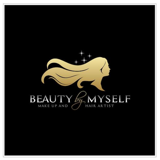Bella donna con logo di sagoma di capelli lunghi Vettore Premium