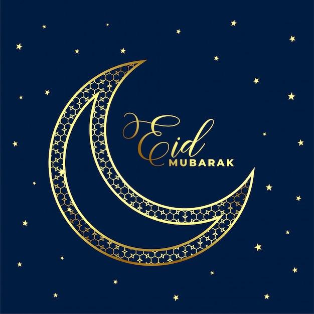 Bella eid decorativo dorato luna e stelle sullo sfondo Vettore gratuito