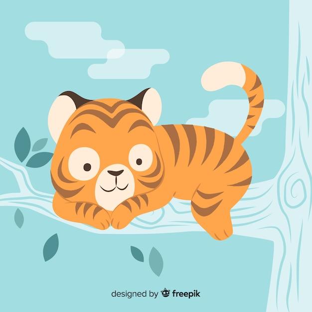 Bella faccia da tigre con design piatto Vettore gratuito