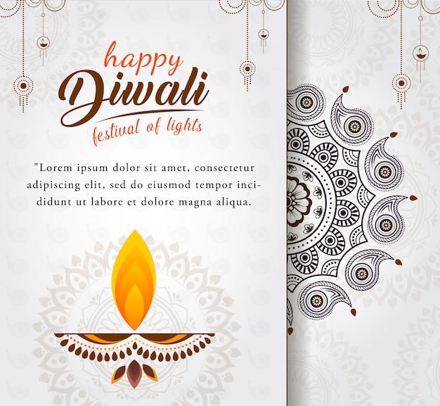 Bella felice diwali saluto con diya per il festival delle luci Vettore Premium