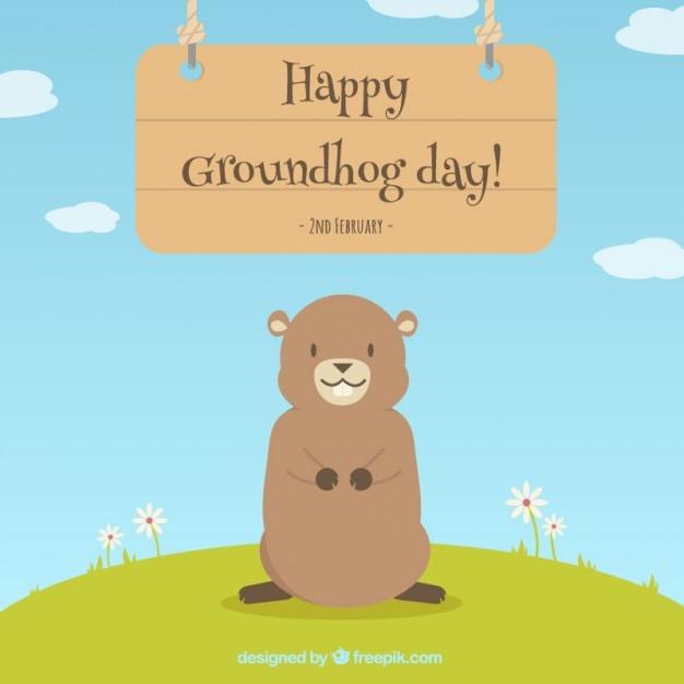 Bella felice giorno sfondo marmotta Vettore gratuito