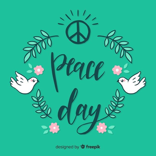 Bella giornata di composizione di pace con scritte carine Vettore gratuito