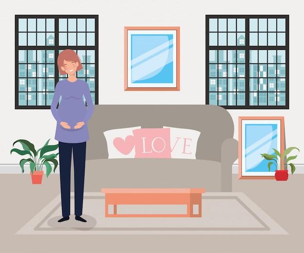 Bella gravidanza della donna nella scena del soggiorno Vettore gratuito