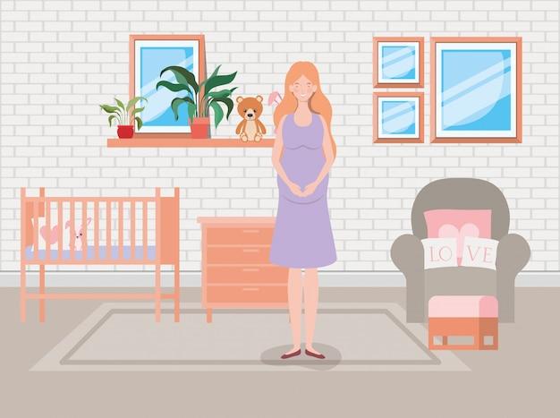Bella gravidanza della donna nella scena della camera da letto del bambino Vettore gratuito