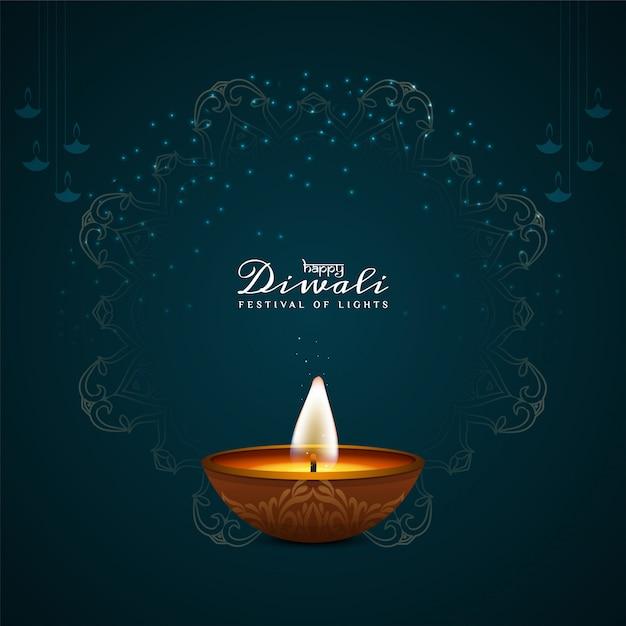 Bella happy diwali decorativa con lampada a olio Vettore gratuito