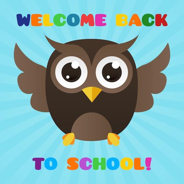 Bella immagine di gufo per dare il benvenuto agli studenti a scuola Vettore gratuito