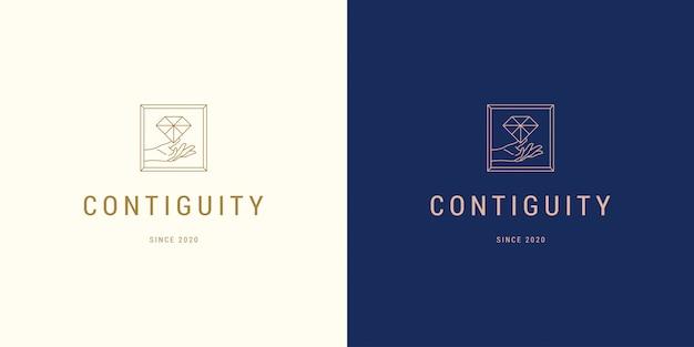 Bella linea di mano femminile che tiene stile lineare minimo semplice dell'illustrazione del modello di progettazione dell'emblema di logo di vettore del diamante Vettore Premium