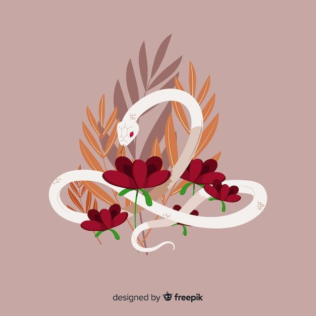 Bella mano disegnato serpente con fiori Vettore gratuito