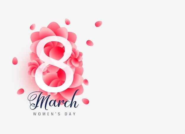 Bella marcia 8 felice giorno della donna card design Vettore gratuito