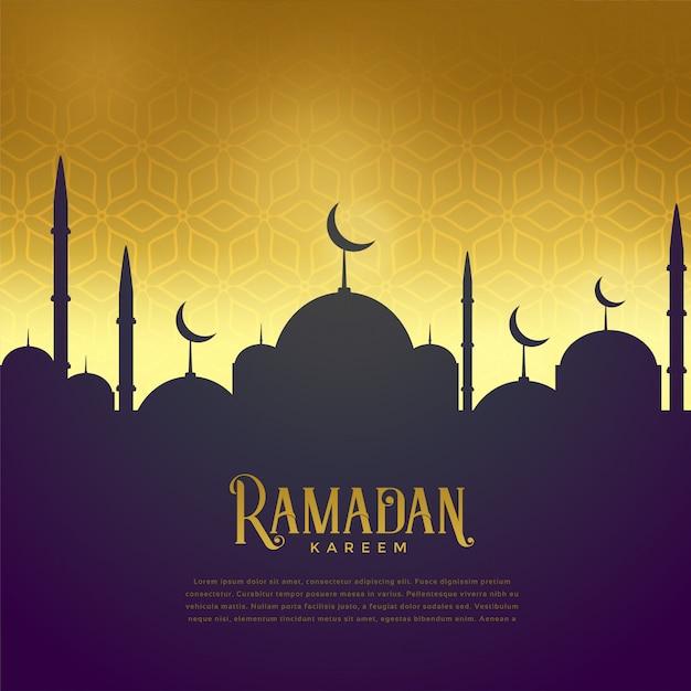Bella moschea su sfondo dorato Vettore gratuito