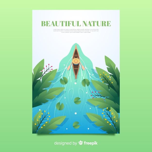 Bella natura e modello di poster di viaggio Vettore gratuito