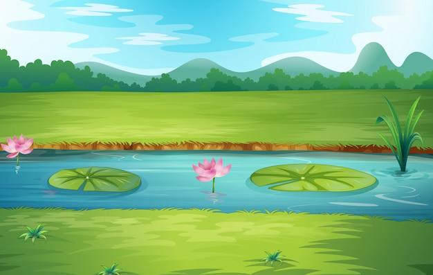 Bella natura fiume paesaggio Vettore Premium