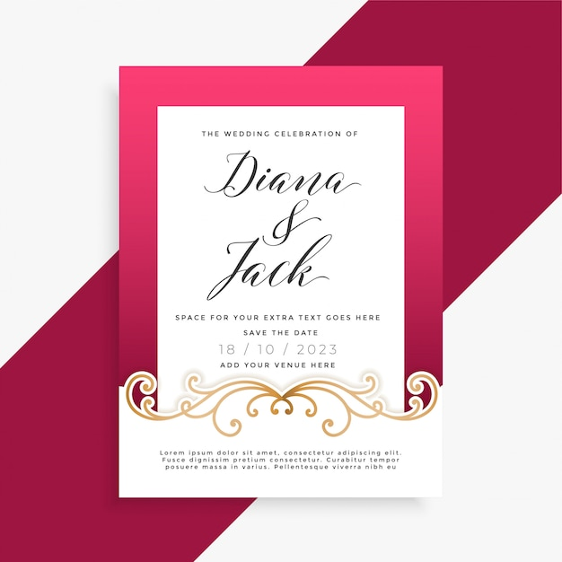 Bella progettazione di carta di nozze floreale Vettore gratuito