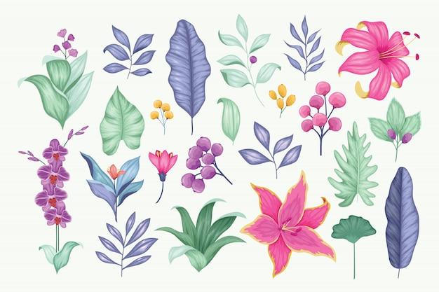 Bella raccolta floreale disegnata a mano d'annata di vettore Vettore Premium