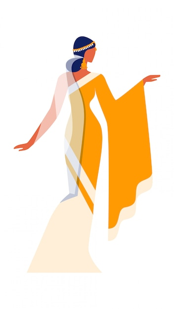 Bella ragazza indiana in abito nazionale sari. Vettore Premium