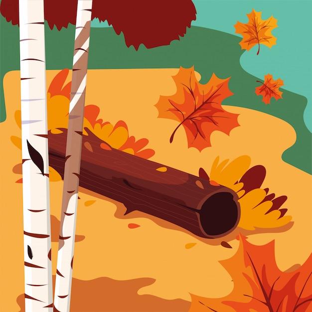 Bella scena del paesaggio di autunno con gli alberi Vettore Premium