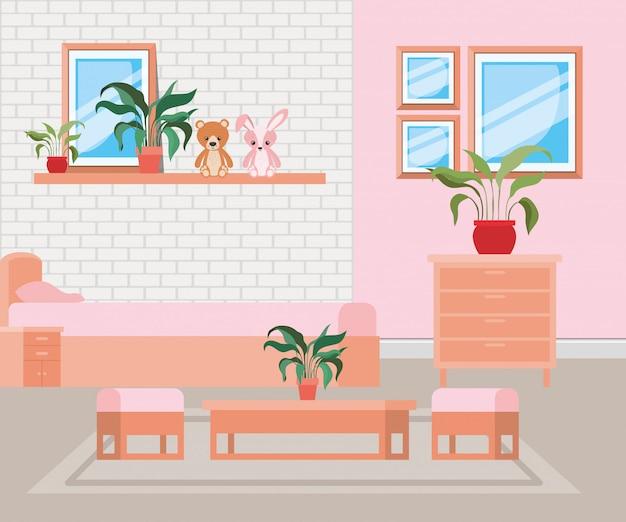 Bella scena della casa del letto Vettore gratuito