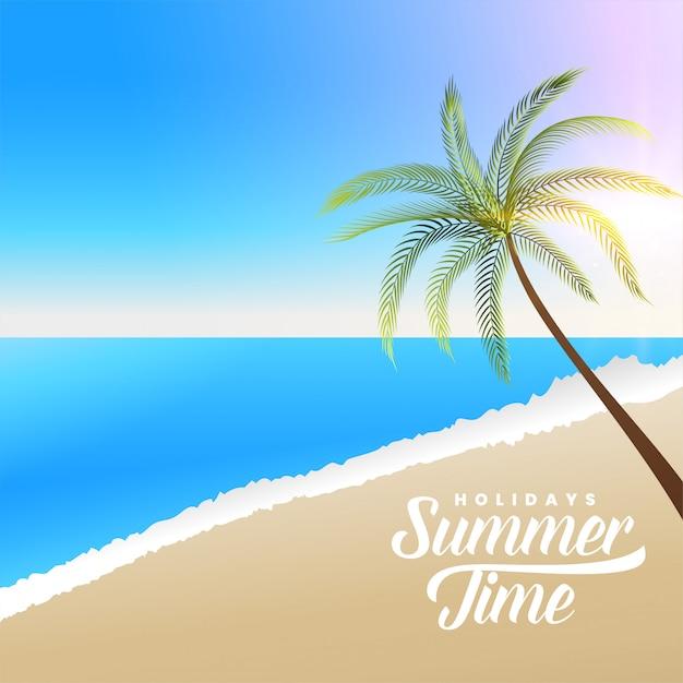 Bella scena della spiaggia di estate con la palma Vettore gratuito