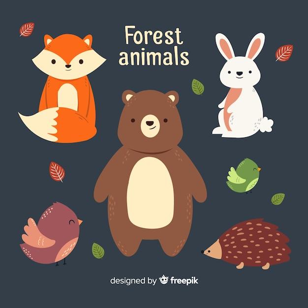Bella serie di animali della foresta invernale Vettore gratuito