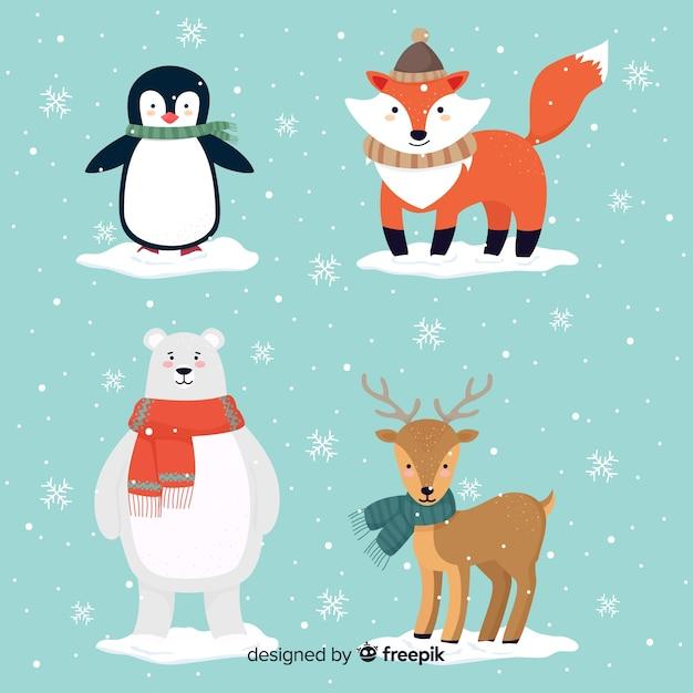 Bella serie di animali invernali disegnati a mano Vettore gratuito