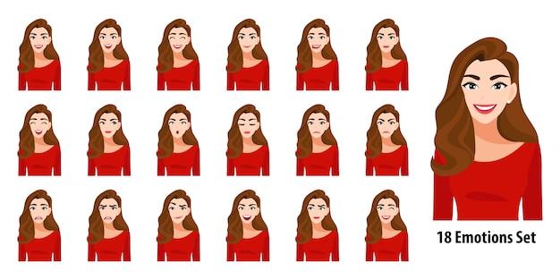 Bella signora dei capelli lunghi in camicia rossa con differenti espressioni facciali messe isolate nello stile del personaggio dei cartoni animati Vettore Premium