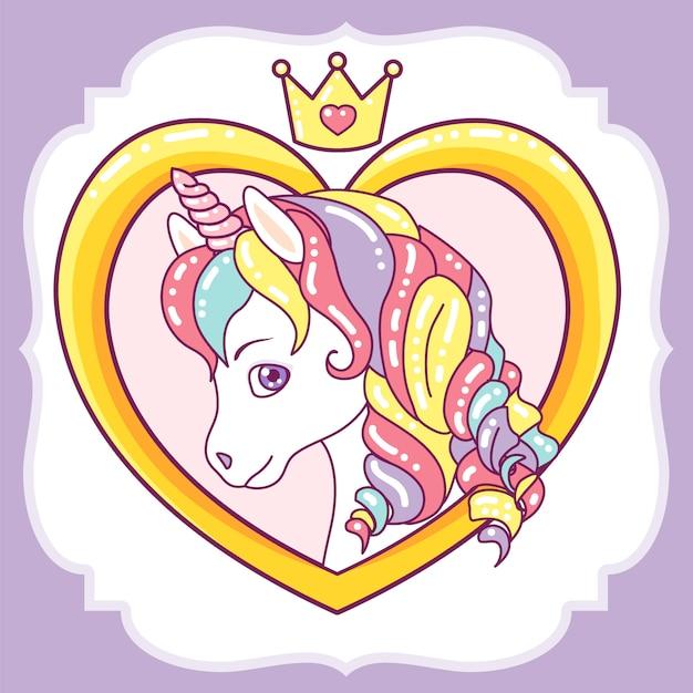 Bella testa di unicorno sul telaio del cuore Vettore Premium