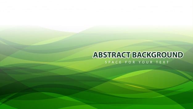 Bella verde astratto moderno sventolando sfondo Vettore Premium